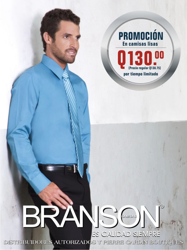Camisas Lisas BRANSON A SOLO Q130.00